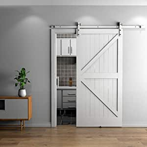 Herraje para Puerta Corredera Kit Kit de hardware de riel de puerta corrediza blanca de 150-400 cm, baño, cocina, empujar y tirar, riel de puerta, polea, riel colgante (Size : 200cm