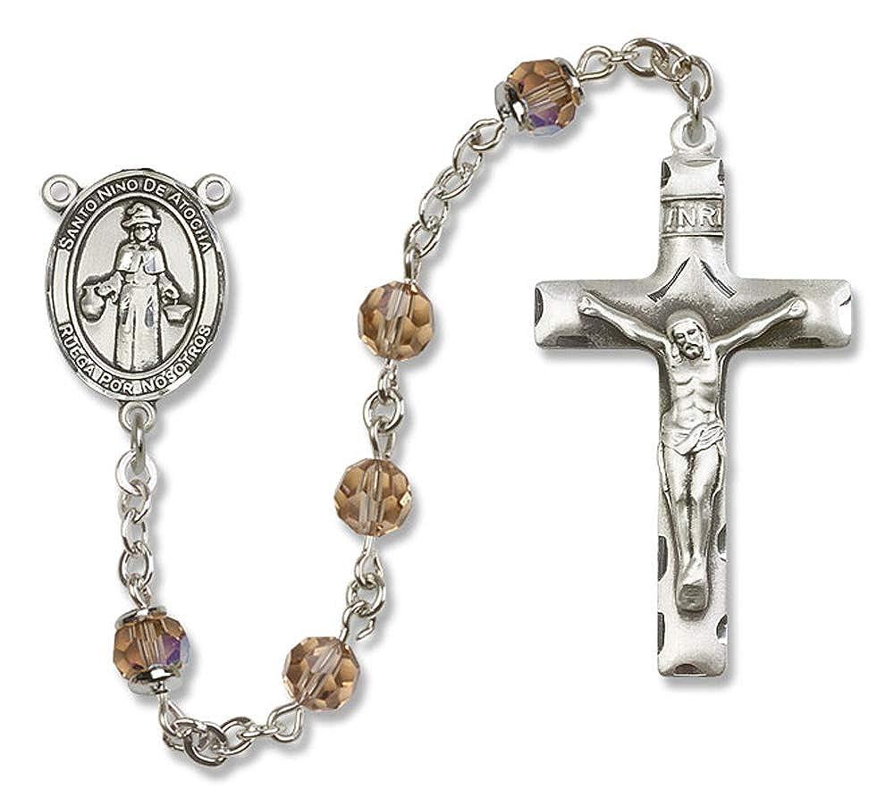 Nino de Atocha is the Patron Saint of Pilgrims//Prisoners. St All Sterling Silver Rosary with Topaz Nino de Atocha Center Austrian Tin Cut Aurora Borealis Beads St 6mm Swarovski