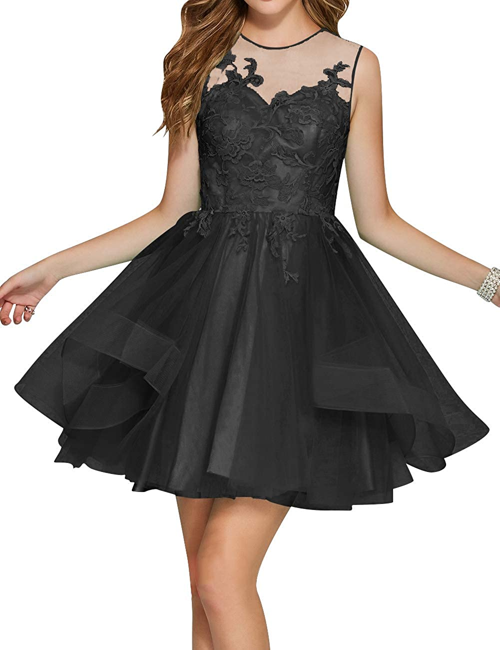 Black Uther Junior Tulle Prom Homecoming Cocktail Dresses Short Scoop Neck Bridesmaid Dress