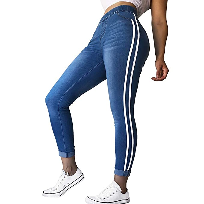 d90b950303 Yunhou Mujer Vaqueros Skinny Jeans Elástico Cintura Raya Pantalones de  Mezclilla Retro Plaid Pantalones Largos Pantalones Rectos Moda Empalme  Pantalones ...