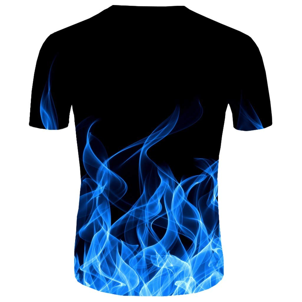 FONMA Mens New Summer T-Shirt T-Shirt with Round Neck Short Sleeve 3D Printed Top