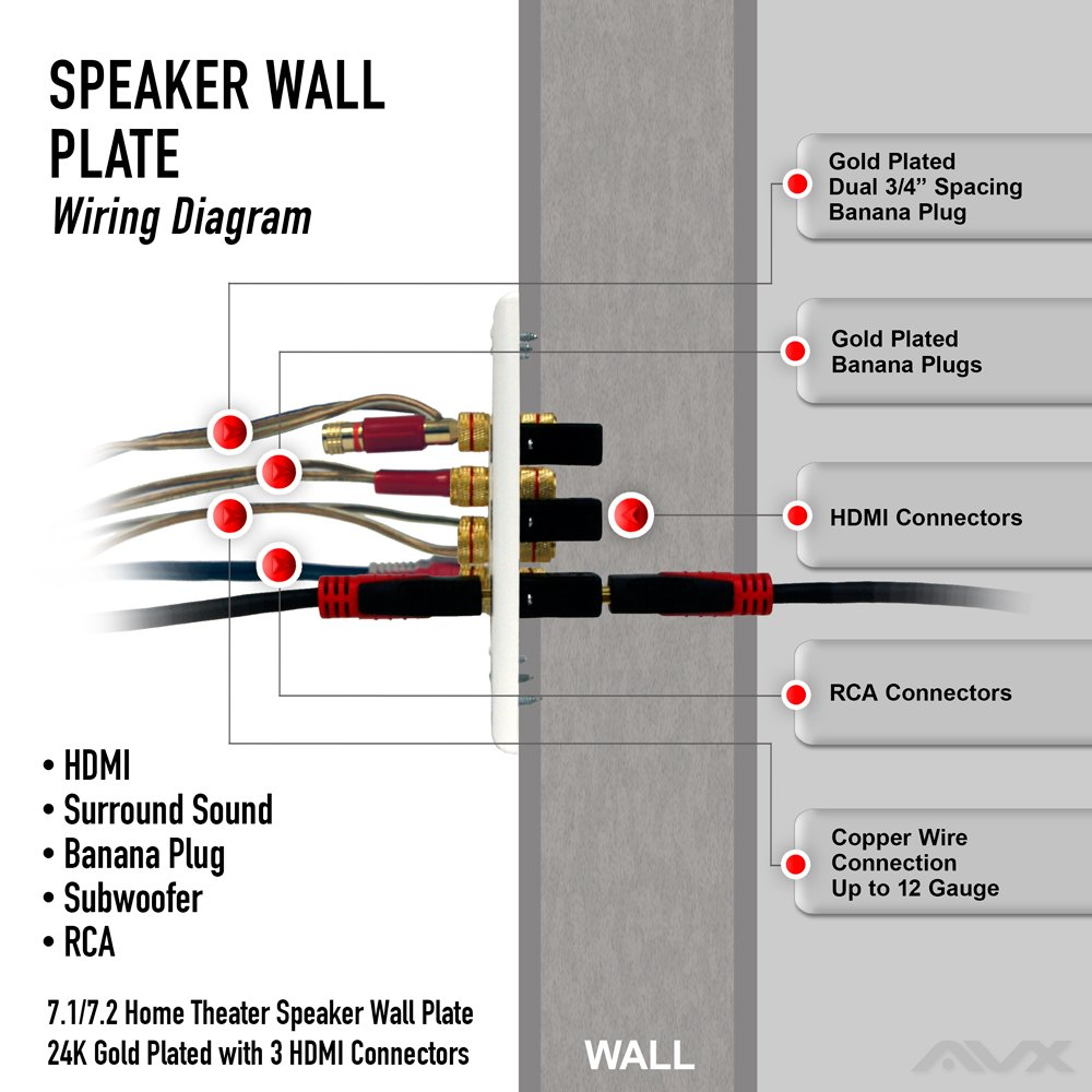71 72 Home Theater Speaker Wall Plate 24k Gold Plated Wiring Diagram For Phone Jack With 3 Hdmi Connectors Electronics