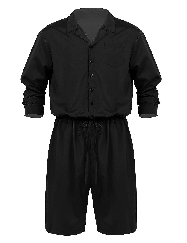 CHICTRY Homme Body Justaucorps Salopette à Manches Longues vêtement de  Sport Short de Cordon Combinaison Rompers avec Poches M-4XL  Amazon.fr   Vêtements et ... ed59e017832