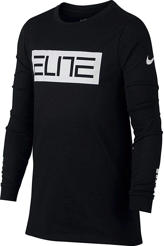 9467801380ba Amazon.com  Nike Big Boys  (8-20) Dri-Fit Long Sleeve Elite T-Shirt-Black-Medium   Clothing