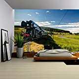 wall26 Steam Engine Locomotive Train Moving Next to the River - Removable Wall Mural | Self-adhesive Large Wallpaper - 100x144 inches