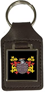 Jefferey Family Crest Surname Coat of Arms Brown Leather Keyring Engraved