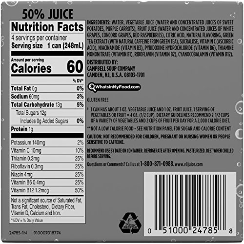 V8 +Energy, Sparkling Juice Drink with Green Tea, White Grape Raspberry, 8.4 oz. Can (6 packs of 4, Total of 24)
