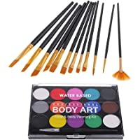 kesoto Face Paint Kit for Kids, Face & Body Paint Palette Brushes Set, Non-Toxic, Easy to Painting and Washing, for Fancy Party Face Painting, 15 Colors
