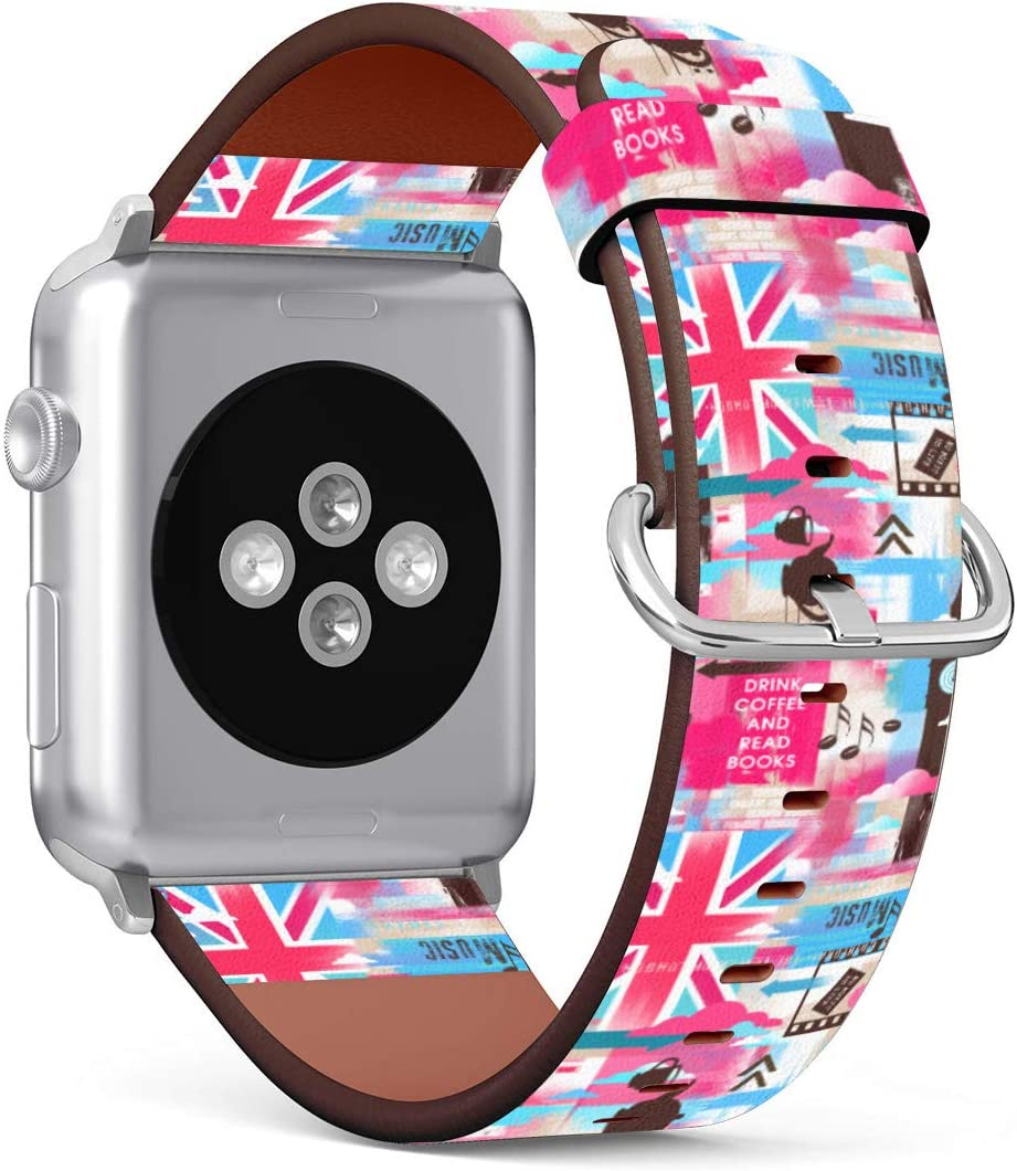 Replacement Leather Strap Printing Wristbands Compatible with Apple Watch Series 5/4 / 3/2 / 1 (42mm / 44mm) - London Pattern with Phone Booth, Big Ben, Flag of Great Britain