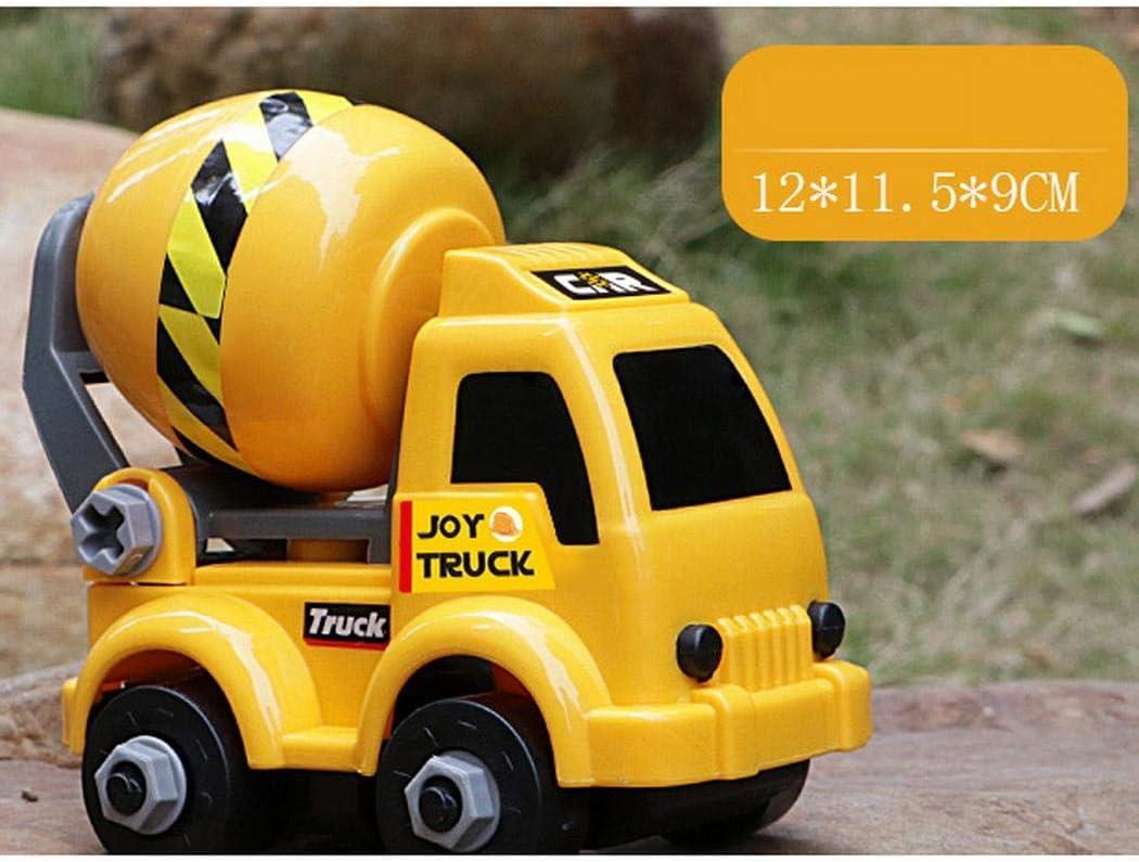damnef Kinderplastikgelb Minibagger zusammengebautes Technik-Auto-Spielzeug Einfache Spielmodelle