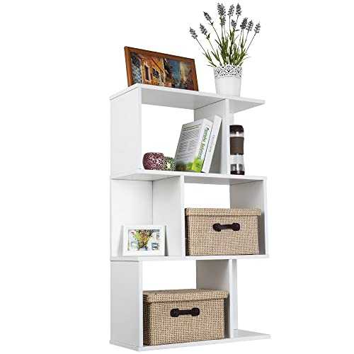 TOP MAX Wood Bookshelf Shelves S Shape Storage Display Shelving 3 Tiers Bookcase Unit Room