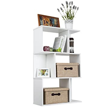 Top Max Wood Bookshelf Shelves S Shape Storage Display Shelving 3