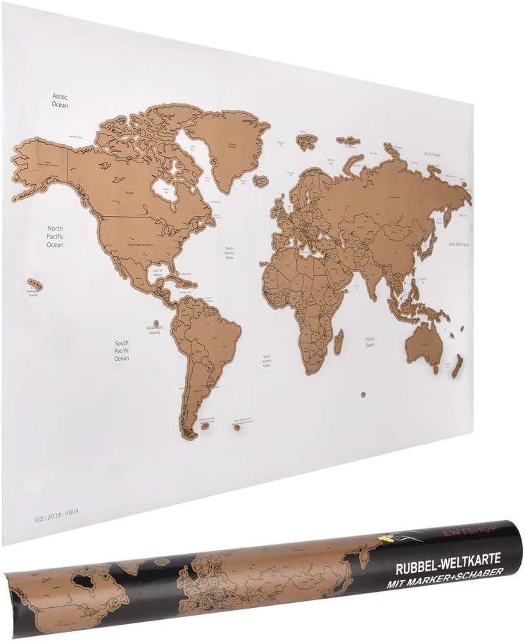 ewtshop® - Mapa del mundo rascador de rascar (60 x 40 cm, con rotulador y rasqueta): Amazon.es: Amazon.es