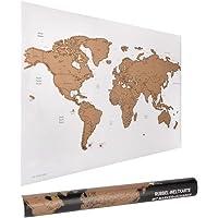 ewtshop® wereldkraskaart, 60 x 40 cm met marker en schraper, wereldkaart om te krassen