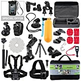 Kit For GoPro Accessories Session Hero 3-4-5 Go Pro sj4000 sj5000 Equipment Case Bundle Bag Pack - Selfie Stick Pole Tripod Gear Grip Mount Suction Cup With Waterproof case - Just Add Summer