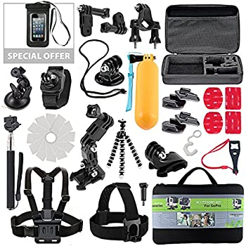 Amazon soft digits 50 in 1 action camera accessories kit for kit for gopro accessories session hero 3 4 5 go pro sj4000 sj5000 equipment case bundle bag pack selfie stick pole tripod gear grip mount suction cup with fandeluxe Gallery
