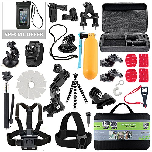Kit for GoPro Accessories Session Hero 3-4-5 Go Pro sj4000 sj5000 Equipment Case Bundle Bag Pack – Selfie Stick Pole Tripod Gear Grip Mount Suction Cup with Waterproof case – Just Add Summer