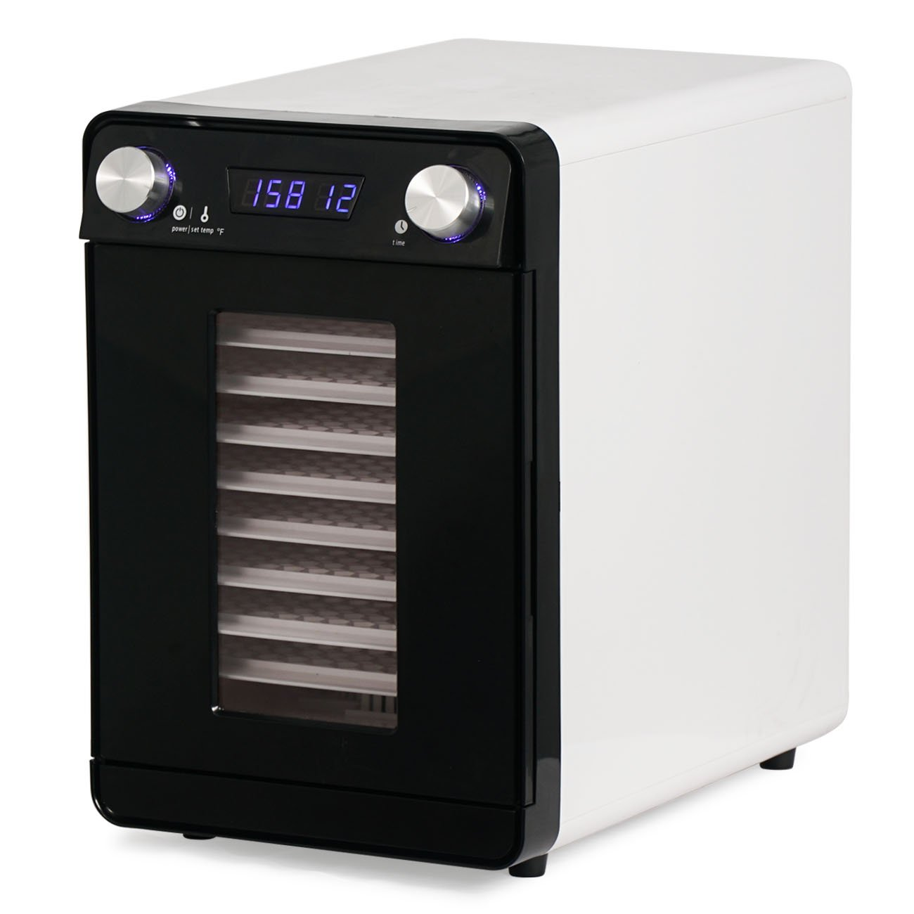 Della Food Dehydrator Fruit Jerky Dryer Drying 9 Trays Adjustable Temperature and Timer Blower, White