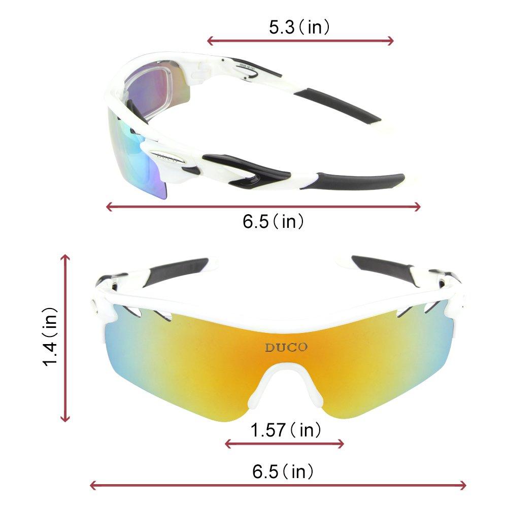 DUCO Radsportbrille Outdoor Sonnenbrille f/ür Sportler polarisierte 5 austauschbare Gl/äser UV400 0025