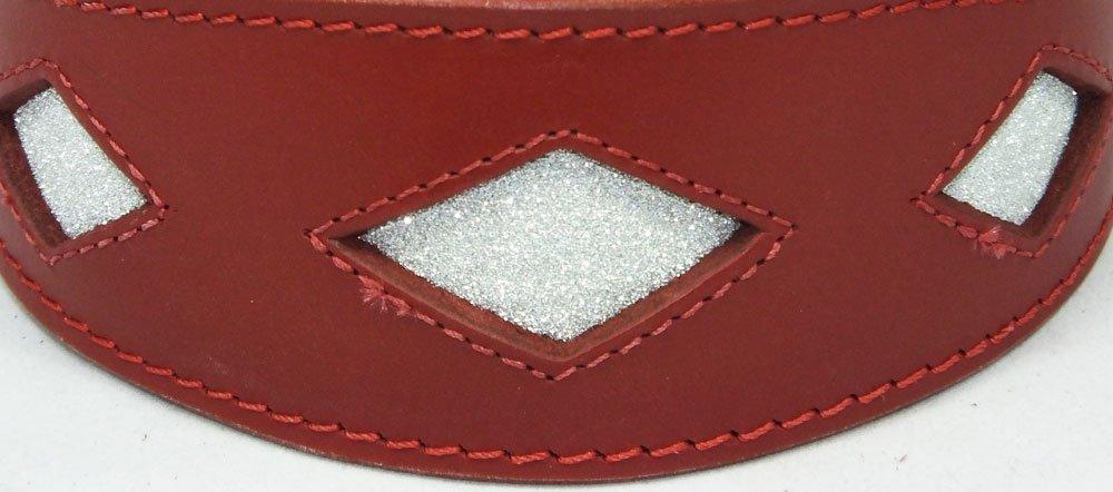 Halsband Leder Hundehalsband Windhund rot mit Diamant-Form Glitzer 35–43cm 4doggies