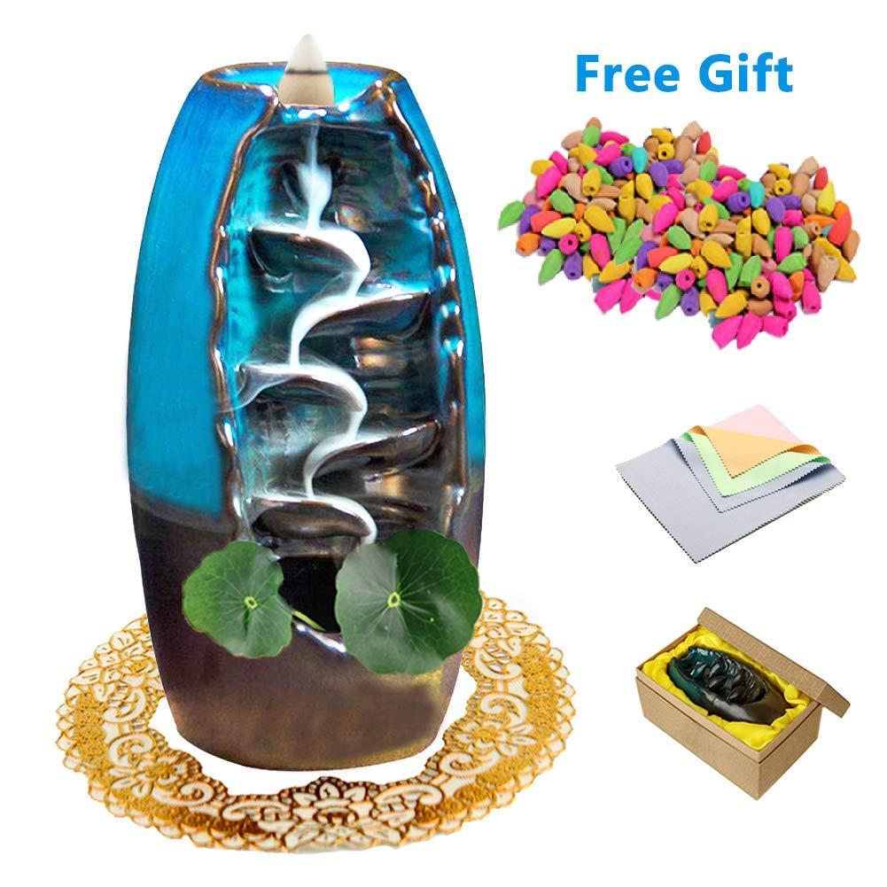 XinXu Incense Burner, Backflow Waterfall Incense Burner, Home Decor Aromatherapy Ornament Incense Cones,Cushion, Artificial Lotus Leaf by XinXu