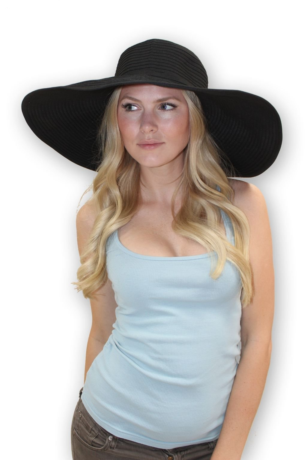 sungrubbies Ribbon Braid 7-Inch Wide Brim Sun Protective Hat. Crushable and Packable Women Hat from (2XLarge, Black)