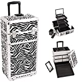 Sunrise I3562ZBWH Zebra Professional Rolling Aluminum Cosmetic Makeup Craft Storage Organizer Case with Split Drawers and 3 Tiers Extendable Trays with Mirror and Brush Holder