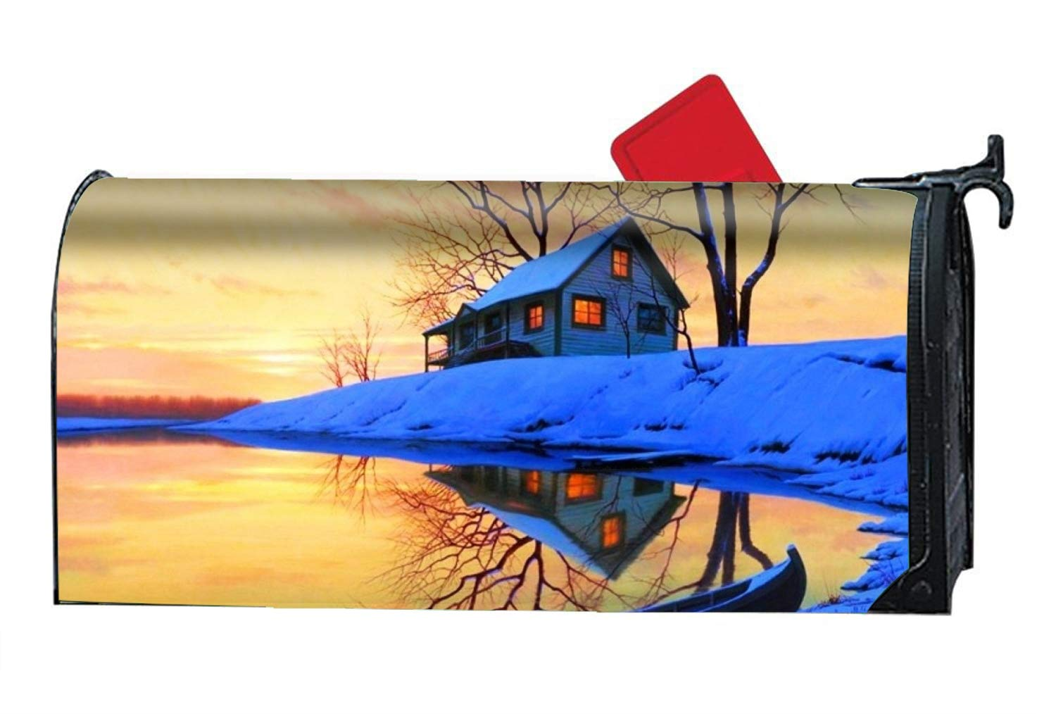 BABBY Artistic Winter Boat Snow Light Lake House Magnetic Mailbox Covers, Yard Decorations Suitable for Spring, Summer, Fall/Autumn and Winter