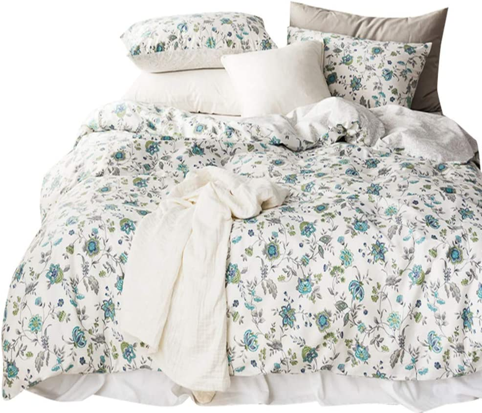 VCLIFE Queen Reversible Bedding Sets Flower Printed Bedding Duvet Cover Sets