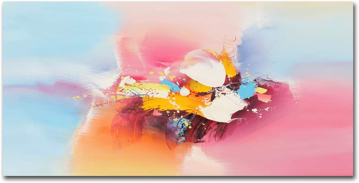 Pink, 16x32in Muzagroo Art Original Abstact Oil Painting for Wall Home Decor Pictures for Bedroom