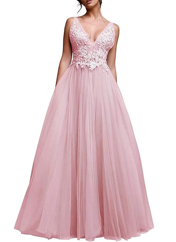 bluesh Vimans Women's Long Tulle Prom Dresses Aline Beading Bridesmaid Party Dress P09
