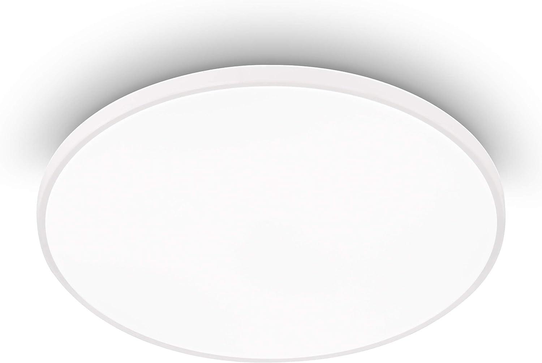 EGLO Plafón LED Kaoki, luz de superficie de 1 bombilla con luz de fondo, lámpara de techo moderna de acero y plástico en Blanco, lámpara de superficie LED blanca neutra, 31.5 cm
