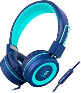 Kids Headphones Microphone for School Children - SIMILKY Products Foldable Stereo Tangle-Free 3.5mm Jack Wired Cord On-Ear Headset for Children/Boys/Girls/iPad/School/Kindle/Airplane/Plane/Tablet