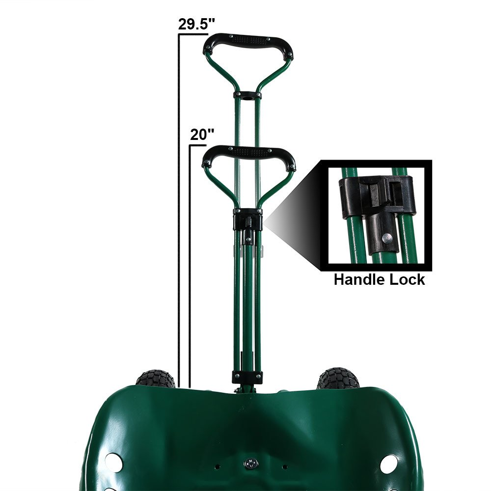 Sunnydaze Garden Cart Rolling Scooter with Extendable Steering Handle, Swivel Seat & Utility Basket, Green by Sunnydaze Decor (Image #7)