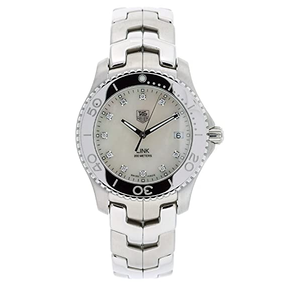 08779873d7d TAG Heuer Men s WJ1114.BA0570 Link Stainless Steel White Mother-of-pearl  Diamond Dial Watch  Amazon.ca  Watches