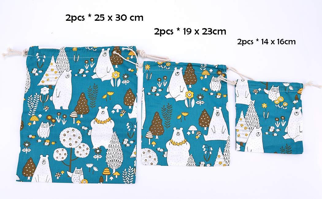Amoyie 3 pcs Drawstring Storage Bag Set for Baby Stuff Travel Home Accessories Pink Elephant