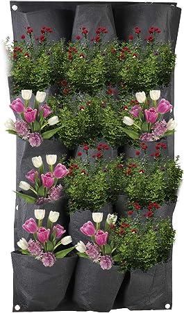 Support Mural Vertical /étanche en Feutre pour Plantes dint/érieur et dext/érieur LWAN3 Sac de Culture /à Suspendre 15 Poches