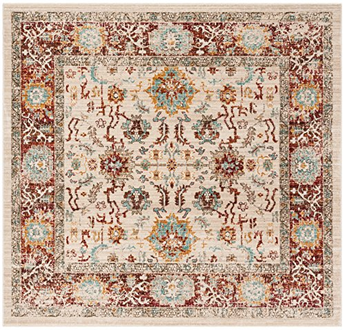 Safavieh Sutton Collection SUT405L Ivory and Brick Area Rug (6' Square)