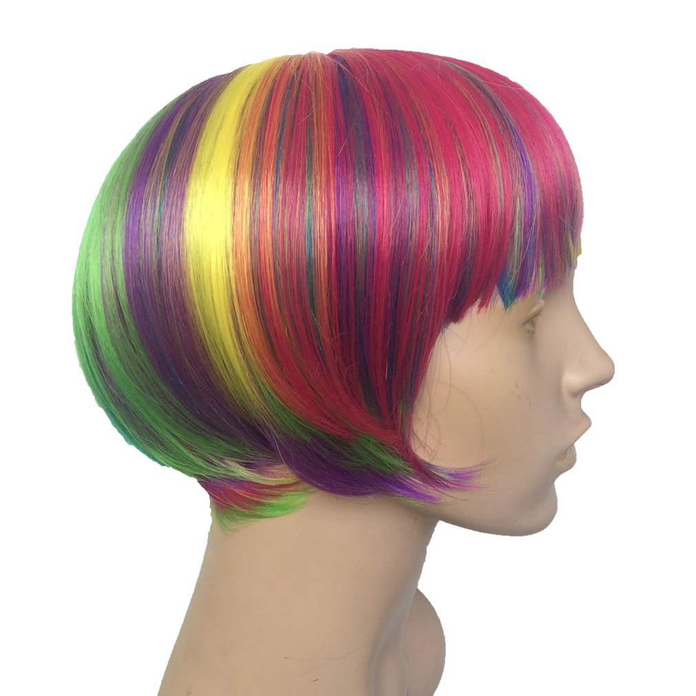 Short Rainbow Wig Cosplay Wigs Heat Resistant Synthetic Fiber BOB Hairpiece , Free Wig Cap by Namecute (Image #6)