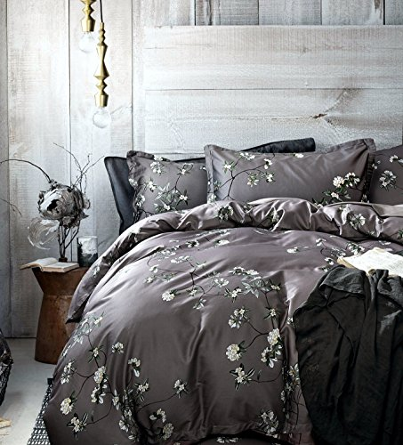 French Country Garden Toile Floral Printed Duvet Quilt Cover Cotton Bedding Set Asian Style Tapestry Pattern Chinoiserie Peony Blossom Tree Branches Multicolored Design (Queen, Grey Fog) (Grey Toile Duvet Cover)