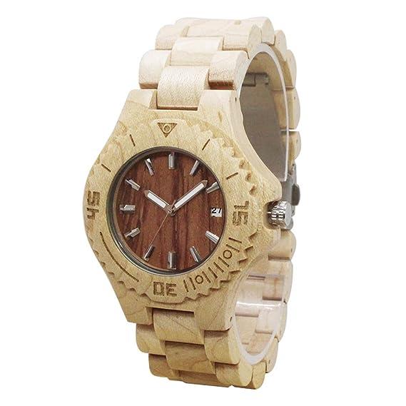 Relojes de madera hombre - Dxlta Madera Creativo Correa de madera completa, Hecho a mano