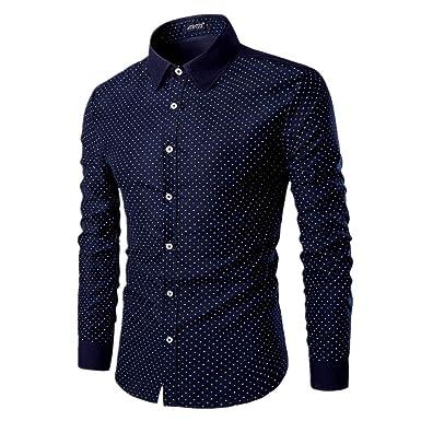 on sale ed3ad c5f2a AOWOFS Herren Hemd Gepunktet Freizeit Regular Fit Langarm Businesshemd  Muster Glänzend Bügelfrei