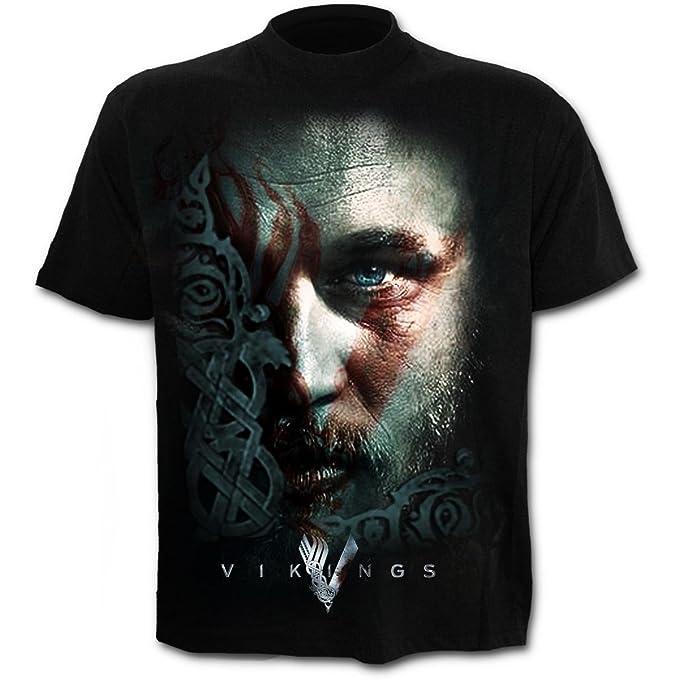 9642b2d9 Spiral Direct Unisex T Shirt Vikings TV Series Ragnar FACE Warpaint