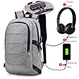 MATMO Business Laptop Backpack with USB Charging Port, Coded Lock and Headphone Interface, Water Resistant Laptop Bag fit for Notebooks under 15.6 Inch, Anti-Theft College Student Scool Bookbag Gray