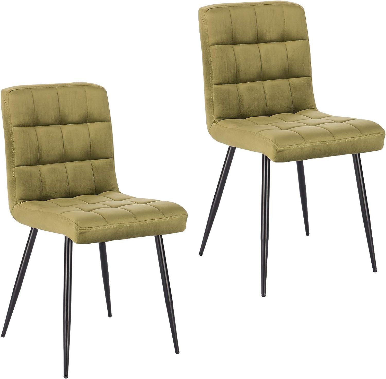 Lestarain Lot de 2 Chaises de Salle à Manger Rétro Chaises de Cuisine Chaises de Salon Rembourrée en Velours,Pied en métal,Chaises avec Dossier Vert