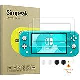 Simpeak 2-Pack Cristal Templado Compatible con Nintendo Switch Lite + 4* Botón Cubierta Protectora (Negro+Blanco), Protector