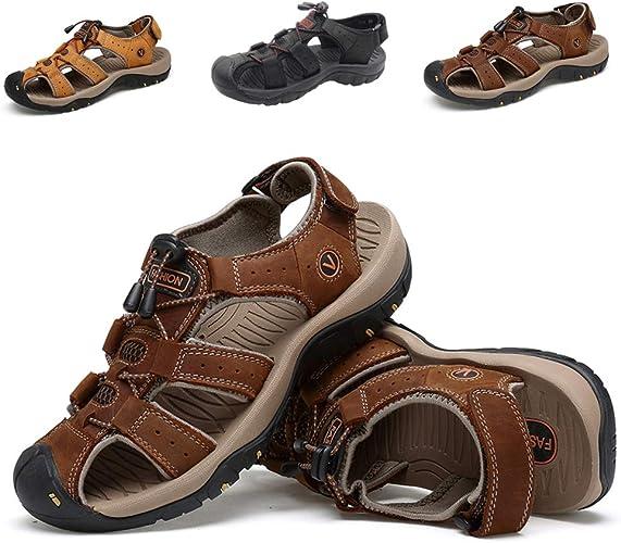 Herren Leder Sandalen Sommer Sport Sandalen Trekkingsandale Schuhe Männer Sport Outdoor Wasser Fischer Atmungsaktive Sandale Große Größe 45 46 47