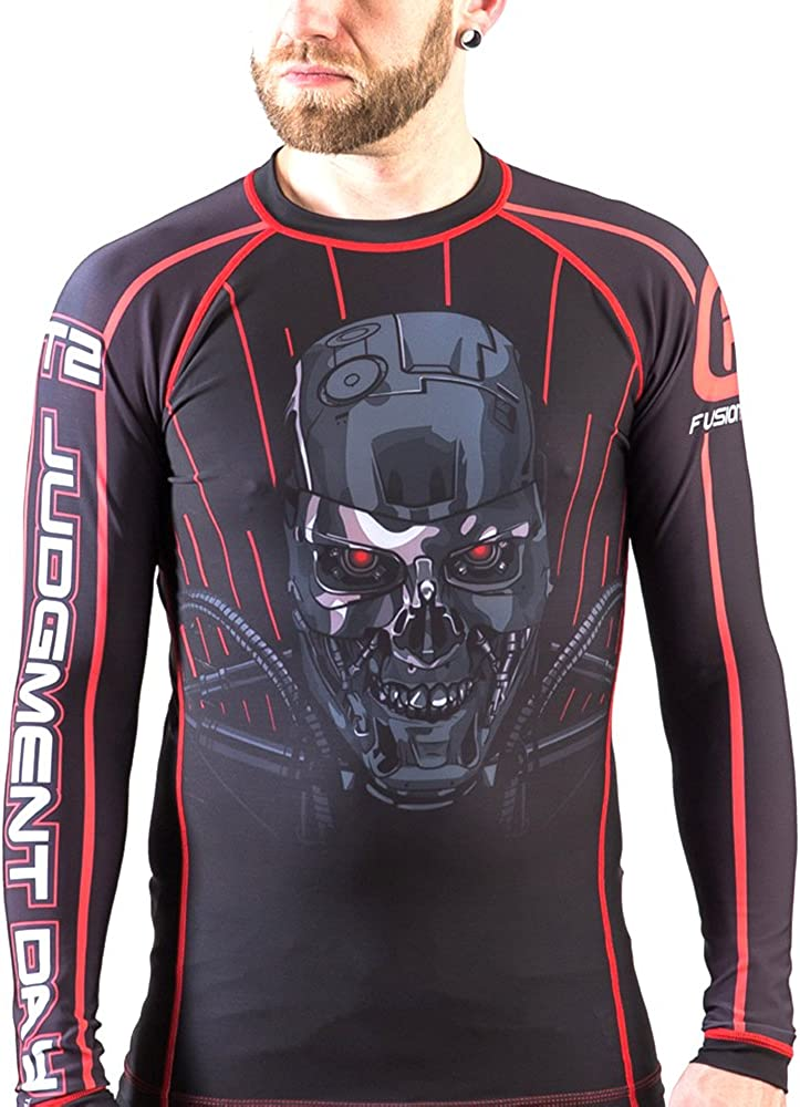 Fusion Fight Gear Terminator Skynet BJJ Rash Guard Compression Shirt