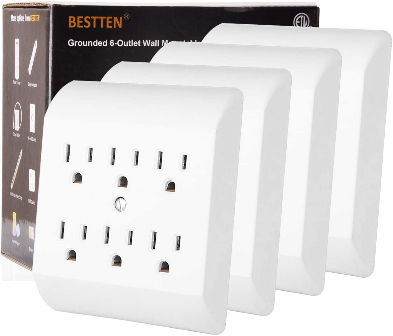 6-Way Electric AC Power Splitter Wall Plug 6 Outlet Electrical Adapter Cover