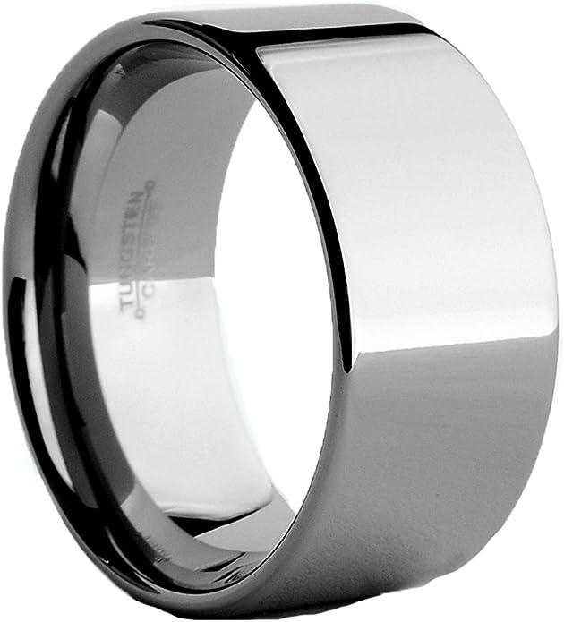 12 mm Comfort Fit Tungsten Carbide Men/'s Flat Top Black Brushed Ring Band